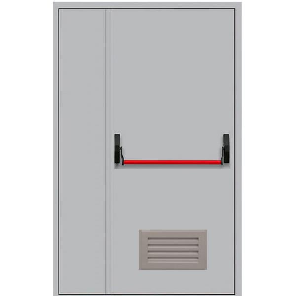 Металлическая противопожарная дверь двупольная с антипаникой ДПМ-1,5ГВ