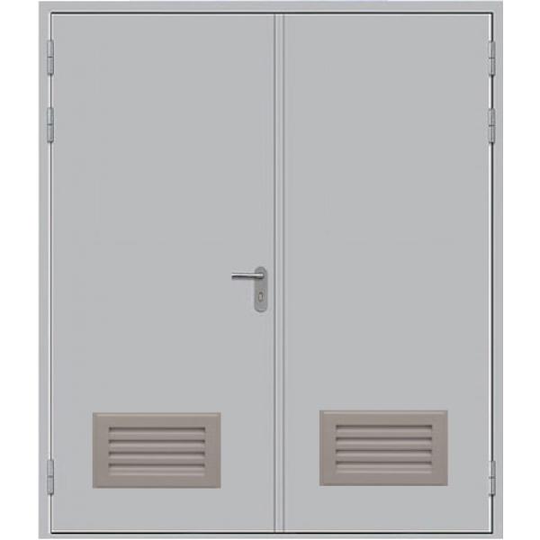 Металлическая противопожарная дверь двупольная с вентиляцией ДПМ-2ГВ