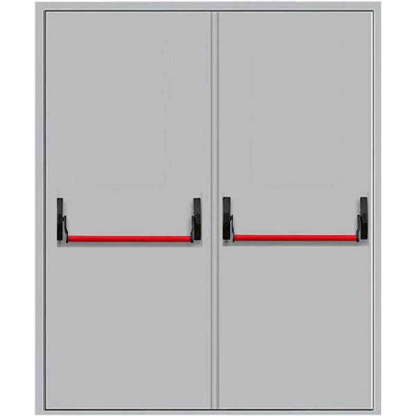 Металлическая противопожарная дверь двупольная с антипаникой ДПМ-2Г