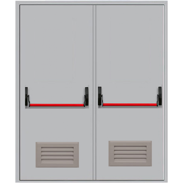 Металлическая противопожарная дверь с антипаникой ДПМ-2ГВ
