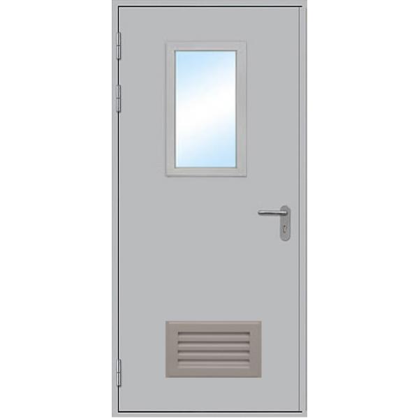 Противопожарная дверь однопольная остекленная ДПМ-1 ОВ