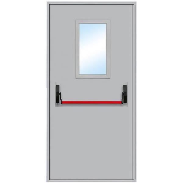 Противопожарная дверь с антипаникой и остеклением ДПМ-1 О