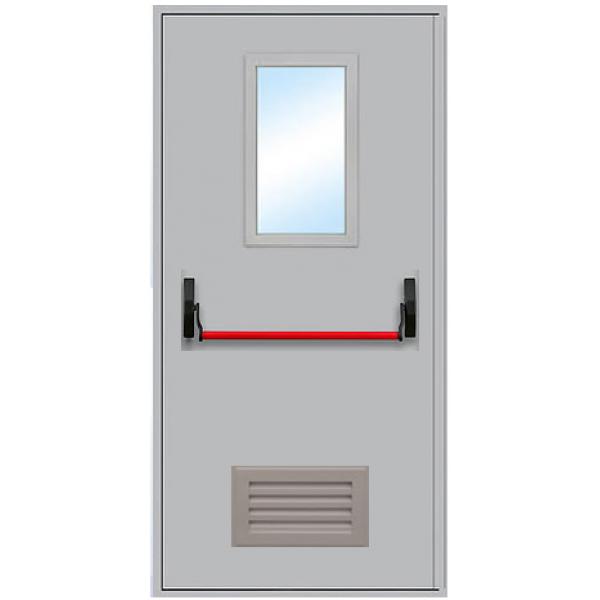 Противопожарная дверь с антипаникой и остеклением ДПМ-1 ОВ
