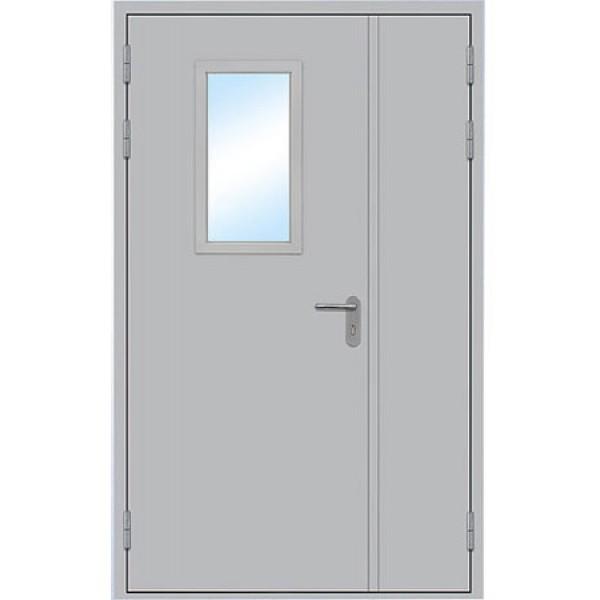 Противопожарная дверь металлическая двупольная остекленная ДПМ-1,5 О
