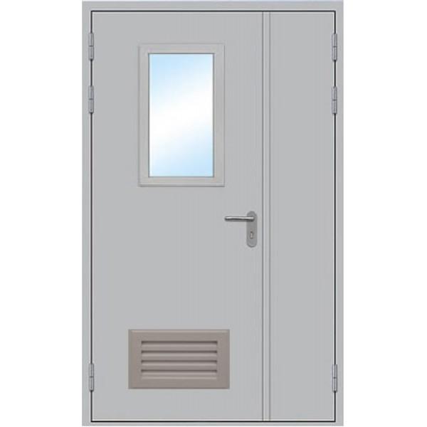 Противопожарная дверь двупольная остекленная ДПМ-1,5 ОВ