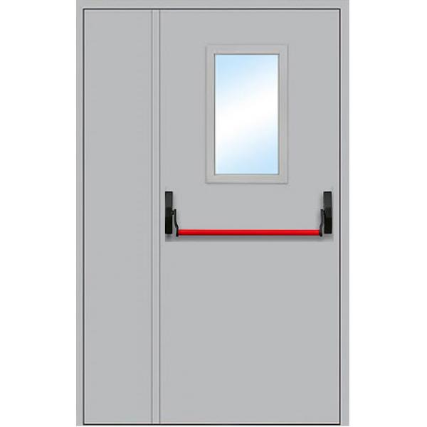 Противопожарная дверь двупольная с антипаникой и остеклением ДПМ-1,5 О