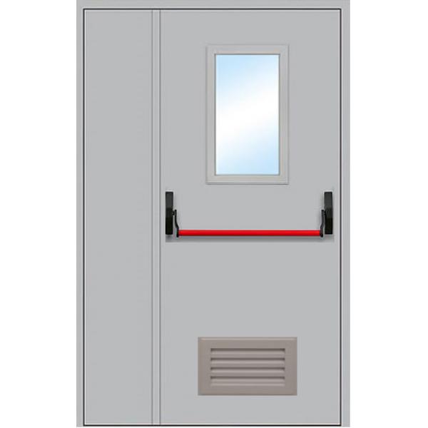 Металлическая противопожарная дверь с антипаникой остекление ДПМ-1,5 ОВ