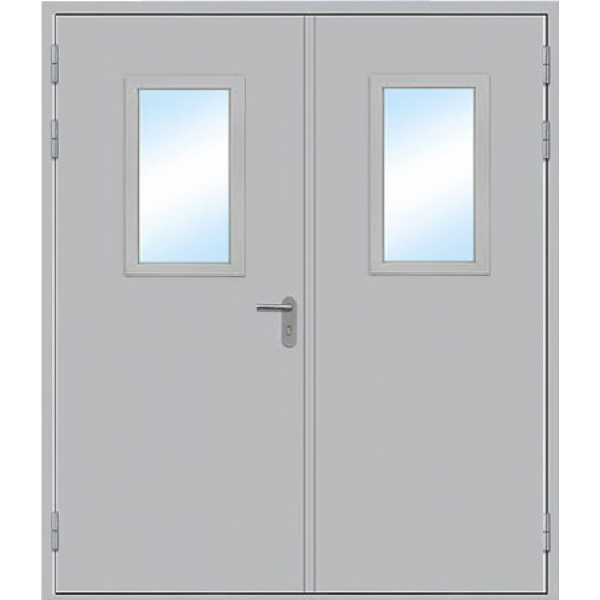 Противопожарная дверь Двупольная остекленная ДПМ-2 О