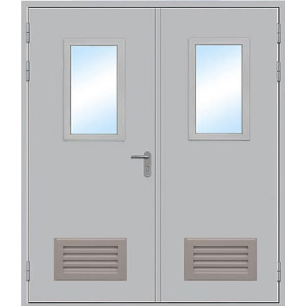 Противопожарная дверь Двупольная остекленная с вентиляцией ДПМ-2 ОВ