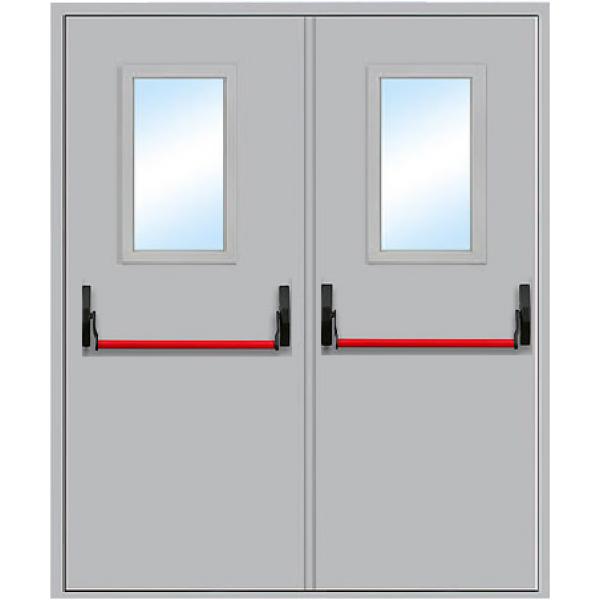 Противопожарная дверь Двупольная остекленная с антипаникой ДПМ-2 О