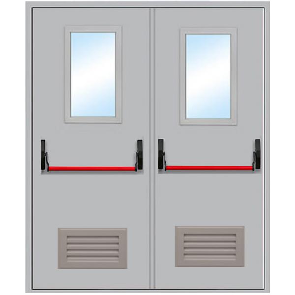 Противопожарная дверь Двупольная остекленная с вентиляцией антипаника ДПМ-2 ОВ