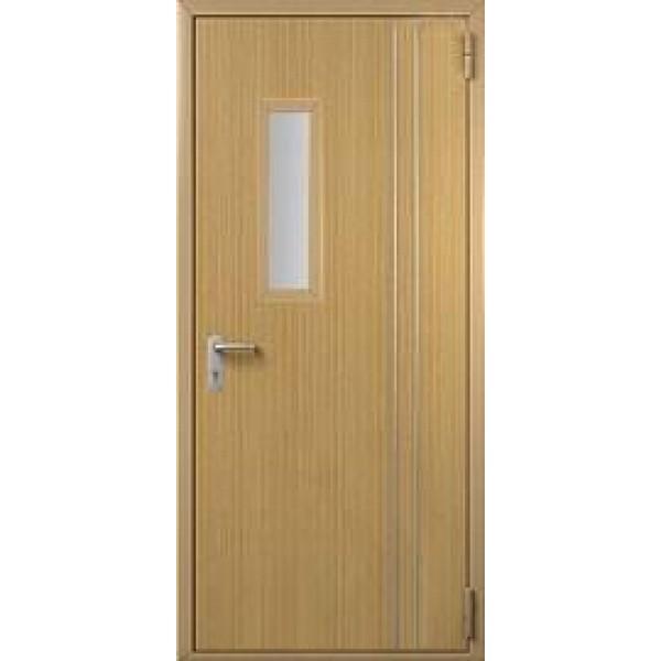 Дверь противопожарная металлическая ДПМ-1 однопольная остекленная с отделкой МДФ