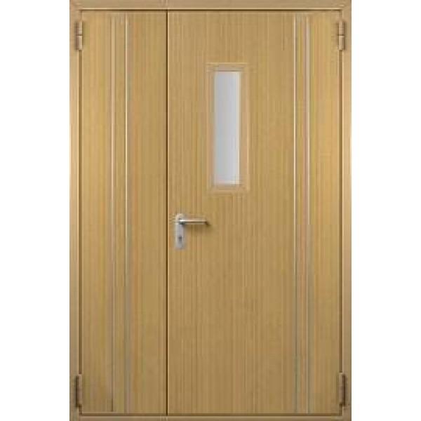 Дверь противопожарная металлическая ДПМ-1,5 О полуторная остекленная с МДФ отделкой