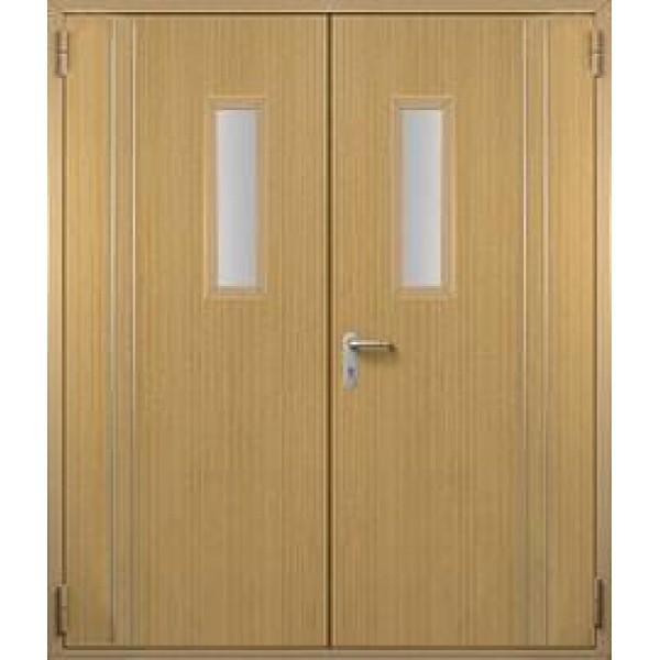 Дверь противопожарная металлическая ДПМ-2 О двупольная остекленная с МДФ отделкой