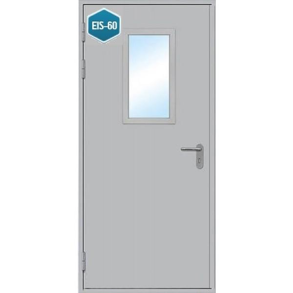 Дверь противопожарная металлическая дымогазонепроницаемая ДПМ-1 О EIS-60 однопольная остекленная