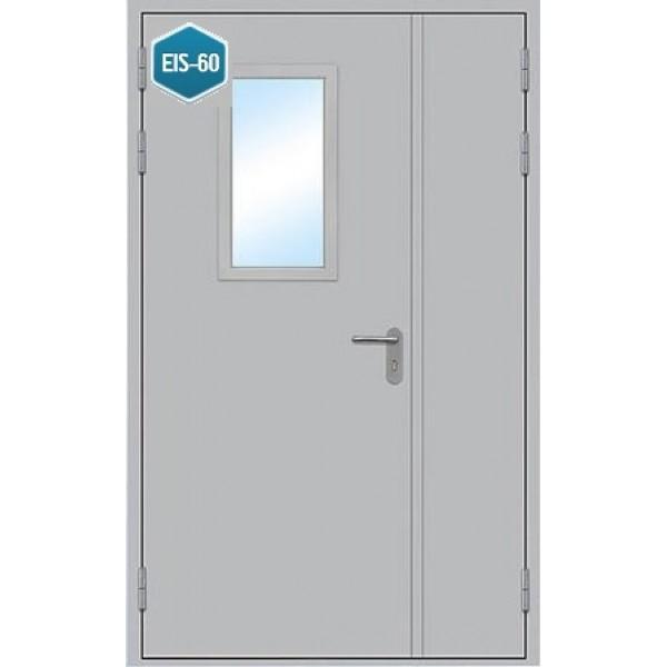 Дверь противопожарная металлическая дымогазонепроницаемая ДПМ-1,5 О EIS-60 полуторная остекленная