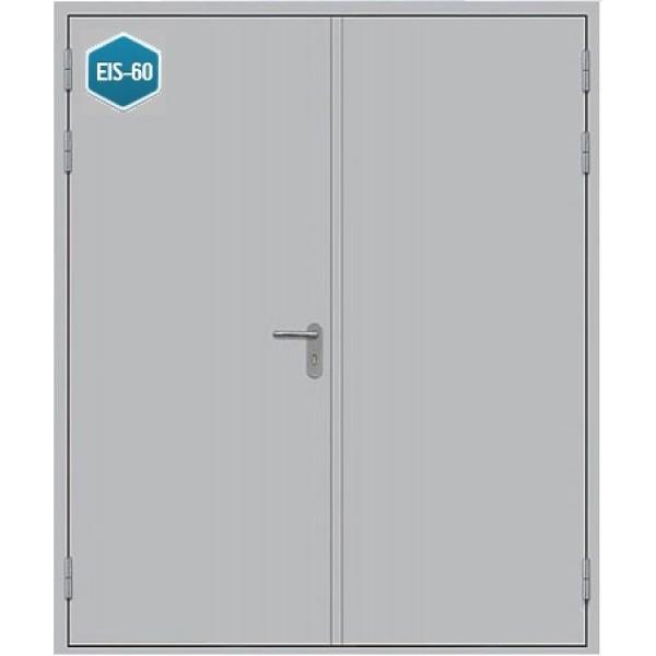 Дверь противопожарная металлическая дымогазонепроницаемая ДПМ-2 Г EIS-60 двупольная глухая