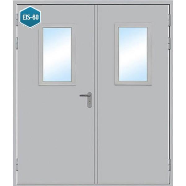 Дверь противопожарная металлическая дымогазонепроницаемая ДПМ-2 О EIS-60 двупольная остекленная