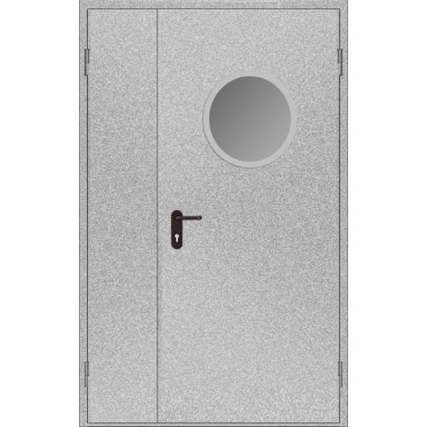 Дверь противопожарная металлическая дымогазонепроницаемая ДПМ-1,5 О EIS60 полуторная остекленная