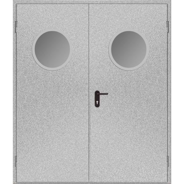 Дверь противопожарная металлическая дымогазонепроницаемая ДПМ-2 О EIS60 двупольная остекленная