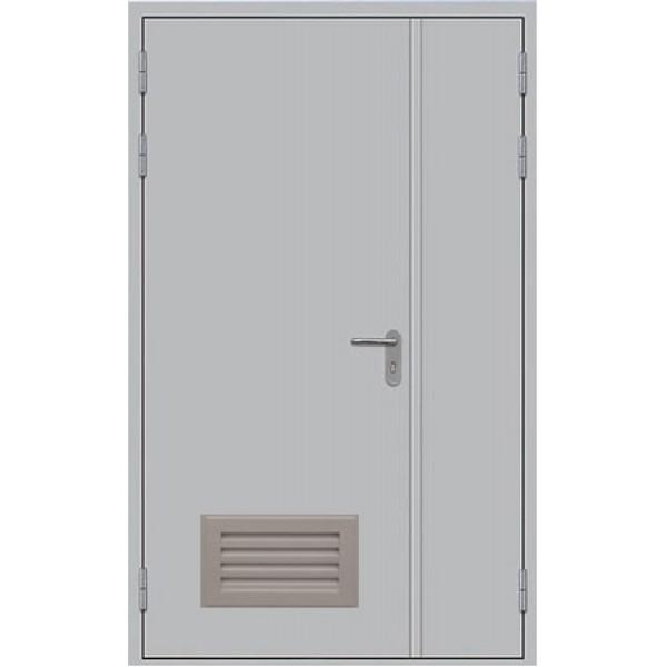Противопожарная дверь металлическая двупольная с вентиляцией ДПМ-1,5ГВ