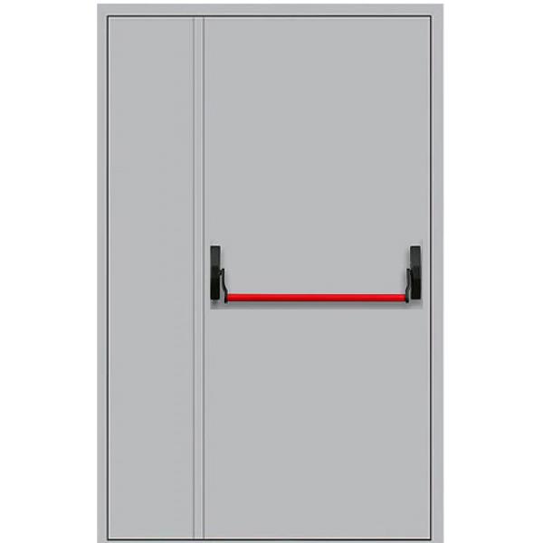 Противопожарная дверь металлическая двупольная с антипаникой ДПМ-1,5Г